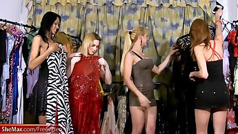 Shemales with big boobs drill their asses in dressing room
