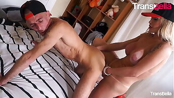 TRANS BELLA - (Carla Novaes & Raul Montana) Busty MILF Shemale Fucks Hard Her Sugar Daddy