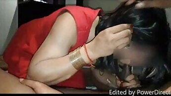 Indian crossdresser bitch Sonia sucking 2 cock